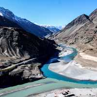 Indus River Valley landscape with mountains