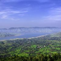 Magnificent landscape and hills with lake in Panchgani, India