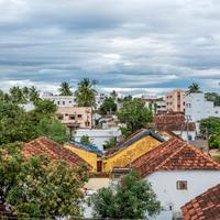 Rooftops view with clouds in a village in India