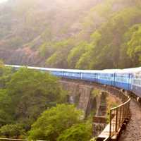 Train railway on the Mountainside in India