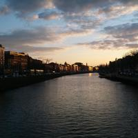 Looking at the River and Dublin at Dusk