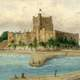 Castle and dock of Carrickfergus in 1830 in Ireland
