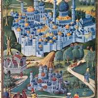 1455 painting of the Holy Land of Jerusalem, Israel
