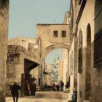 Arch of Ecce Homo around 1900 in Jerusalem, Israel