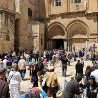 Jerusalem israel holy sepulcher with people