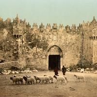 The Damascus Gate around 1900 in Jerusalem, Israel