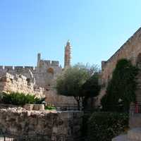 Tower of David from afar in Jerusalem, Israel
