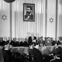 David Ben-Gurion proclaiming the Israeli Declaration of Independence in Israel in 1948