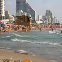 People on Tel-Aviv Beach in Israel