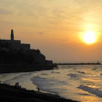 Sunset over the shoreline and ocean in Tel-Aviv, Israel
