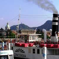 An old steamship at the dock in Como, Italy
