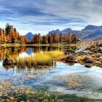 Beautiful Landscape with Mountains and Lakes with sky in Italy