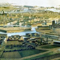 Bird's-eye view of Livorno in the mid 19th century in Italy