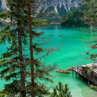 Blue-Green Lake and Water in Pragser Wildsee, Italy landscape