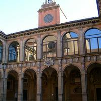 Courtyard of the 16th-century Archiginnasio in Bologna, Italy