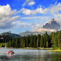 Lake Misurina with clouds and sky landscape