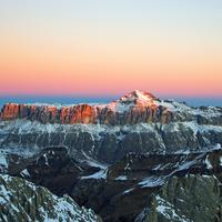 Massif of the saddle at Dolomites in Italy