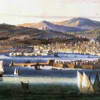 Painting of Genoa in 1810 in Italy