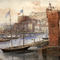 Painting of Savona in 1860 in Italy