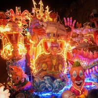 Spectacular floats during the carnival season in Acireale, Italy