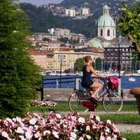 The park of Villa Olmo and the Cathedral in Como. Italy