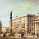 The Stock Exchange Square in 1854 in Trieste, Italy