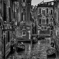 Black and White Photo of the channels of venice