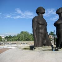 Statues of man and women in Kingston, Jamaica