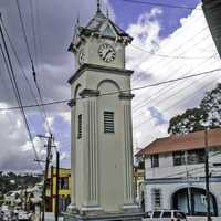 Clock Tower in the Center of Town in Claremont, Jamaica
