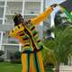Man holding Jamaican Celebration Flag