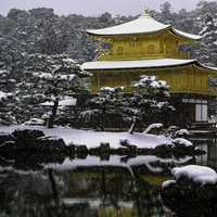 Kinkaku-ji in the winter in snow in Kyoto, Japan