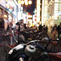 Motorcycles in busy streets of Osaka, Japan