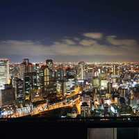 The Cityview of Osaka at night with lights in Japan