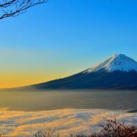 Landscape with clouds and Mount Fuji, Japan