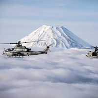 Marine Helicopters flying over Mount Fuji