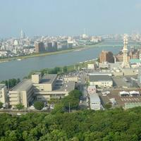 View of Niigata City and Shinano River in Japan