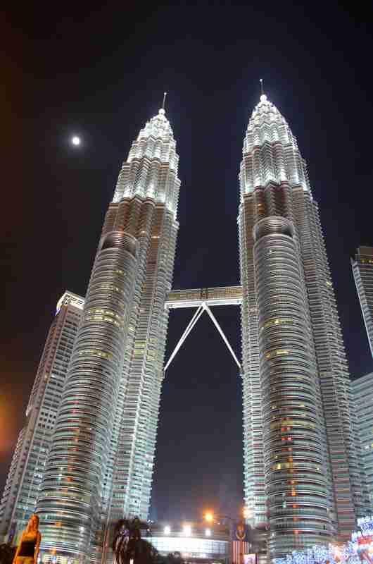 petronas twin towers at night in kuala lumpur  malaysia