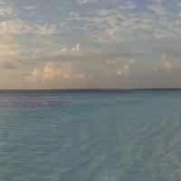 Panoramic of the beach and ocean in the Maldives