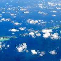 Sky and Clouds over the Landscape of the Maldives
