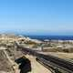 Road and town and ocean in Baja California