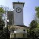 Clock tower at western edge of Parque Lincoln in Mexico City