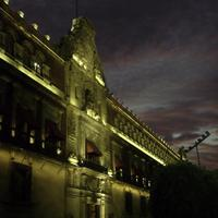 Palacio Nacional at night in Mexico City