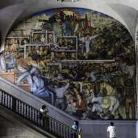 Rivera's History of Mexico mural in Mexico City