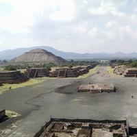 Teotihuacan landscape with Pyramids, Mexico
