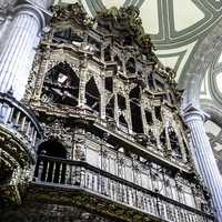 View of an organ case in the Cathedral of Mexico City