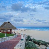 Beach, sky, and clouds and scenery in Cancun, Mexico