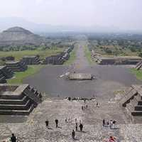 Avenue of the Dead and the Pyramid of the Sun in Teotihuacan