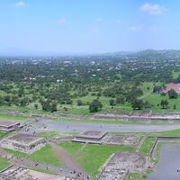 Panoramic view from the summit of the Pyramid of the Sun in Teotihuacan, Mexico