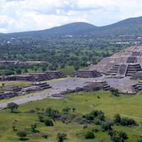 View of the Pyramid of the Moon in Teotihuacan, Mexico