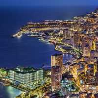 Monaco at night on the shoreline